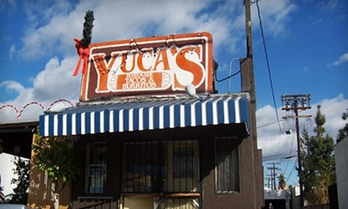 Yuca's, and Yuca's on Hollywood - Multiple Locations: Up to 54% Off Mexican and American Fare for the Anniversary Celebration of Yuca's in Los Feliz and Yuca's on Hollywood. Two Options Available.