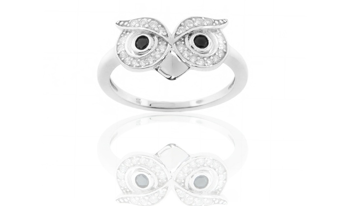 Sterling Silver Simulated Diamond Owl Rings: Sterling Silver Simulated Diamond Owl Rings. Free Returns.
