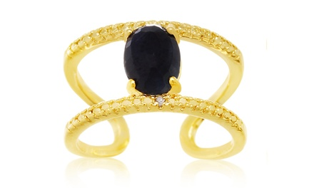 1.6 CTW Sapphire and Diamond Open Shank Ring in 14K Yellow Gold Plated Sterling Silver