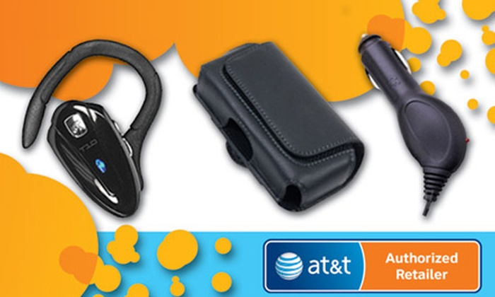 Master Wireless - Multiple Locations: $39 for a Bluetooth Bundle Package with Headset, Car Charger, and Leather Case at Master Wireless ($109.97 Value)