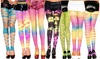 Women's Rainbow Slashed Patterned Tights: Women's Rainbow Slashed Patterned Tights