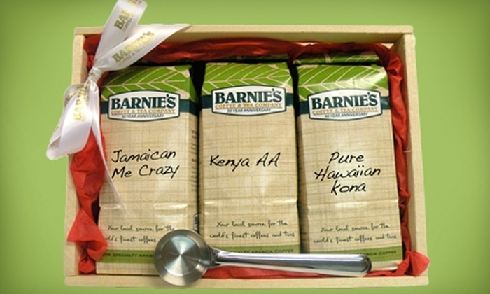 Barnie's Coffee & Tea Company: $45 for 3 Pounds of Premium Coffee and Stainless-Steel Scoop from Barnie's Coffee & Tea Company ($102 Value)
