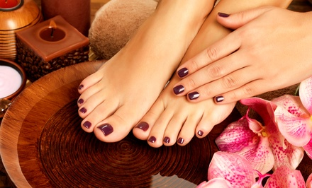One or Two Deluxe Manicures and Pedicures at A+ Nails (Up to 52% Off)