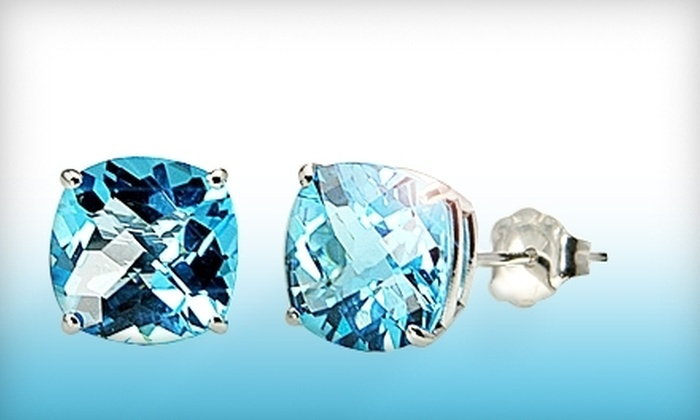 Desiree Morgan Company: $125 for One Pair of Cushion-Cut Amethyst or Blue Topaz White-Gold Stud Earrings from Desiree Morgan Company ($399 Value)