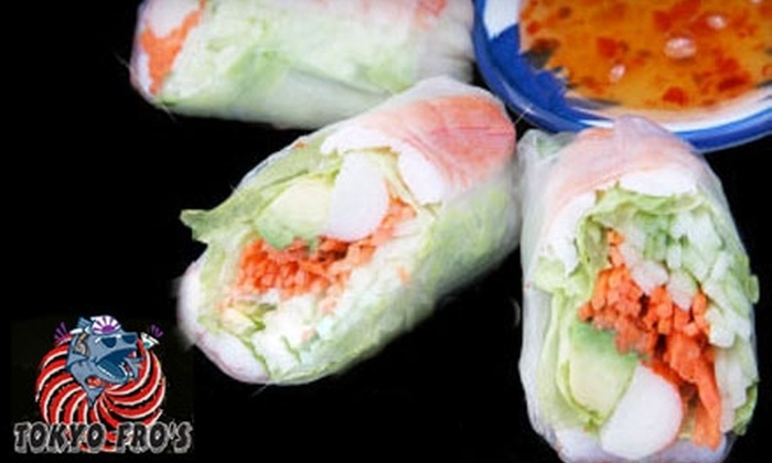 Tokyo Fro's - Arden - Arcade: $15 for $30 Worth of Sushi or $30 for a Sake and Sushi Lesson/Tasting ($60 Value) at Tokyo Fro's