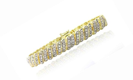 1 CTTW Gold-Tone Diamond Tennis Bracelet