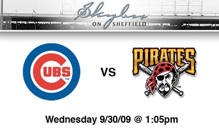 Skybox on Sheffield - Multiple Locations: $65 Cubs Rooftop Tickets, All You Can Eat and Drink. Buy Here for Cubs vs. Pirates, 9/30, 1:05 p.m. See Below for Other Games.