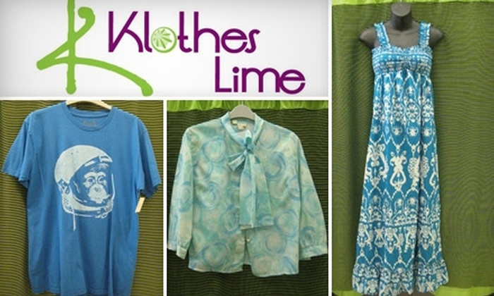 Klothes Lime - Golden Hill: $9 for $20 Worth of Gently Used Apparel and Accessories at Klothes Lime