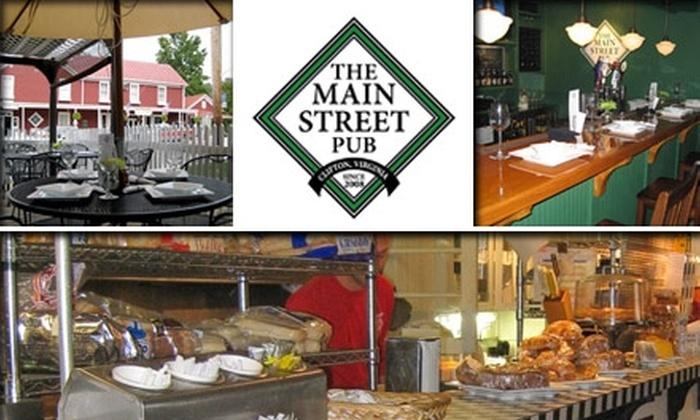 Main Street Pub - Clifton: $10 for $20 Worth of Pub Grub and Drinks at The Main Street Pub