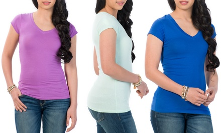 6-Pack of Ladies' V-Neck T-Shirts in 6 Colors