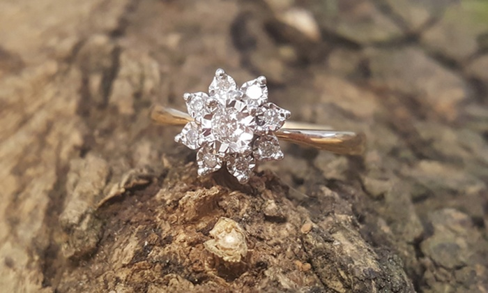 Diamond And 9ct Gold Ring Groupon Goods