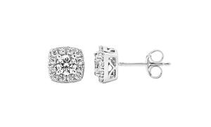 0.75 Cttw Diamond Earrings In 10k White Gold