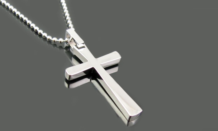 Mens stainless steel pendant groupon goods blackjack mens stainless steel cross pendant blackjack mens stainless steel cross aloadofball Images