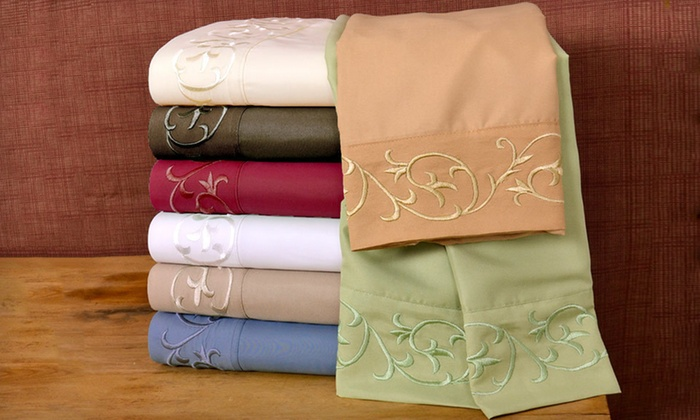 Regency Scroll Microfibre Sheet Set: $29 for a Regency Scroll Microfibre Sheet Set ($69.99 List Price). 30 Options Available. Free Shipping and Returns.