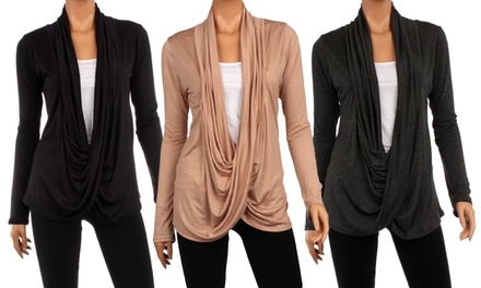 3-Pack Women's Draped Crisscross Cardigan