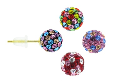 14K Gold Swarovski Elements Crystal Ball Stud Earrings - Confetti Collection