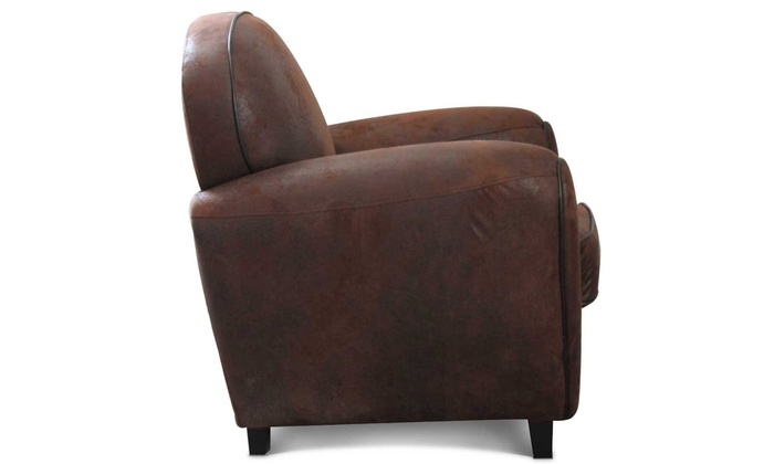 fauteuil club microfibre marron groupon shopping. Black Bedroom Furniture Sets. Home Design Ideas