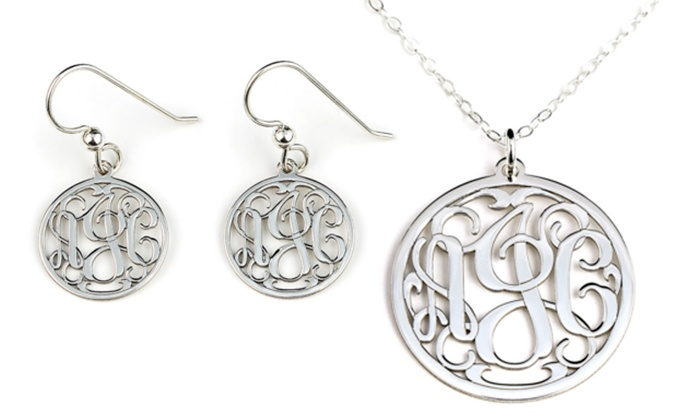 AJ's Collection: Personalized Monogram Earrings, Charm Bracelet, or Necklace from AJ's Collection (Up to 66% Off)