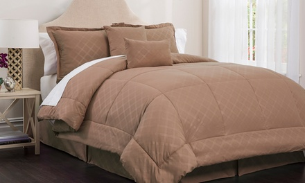 Park Ave Collection by Hotel New York Embossed Plaid Comforter Set (6-Piece)