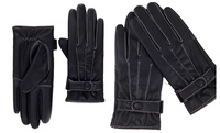 GROUPON: iPM Men's Faux Leather and Fleece Touchscreen Gloves iPM Men's Faux Leather and Fleece Touchscreen Gloves