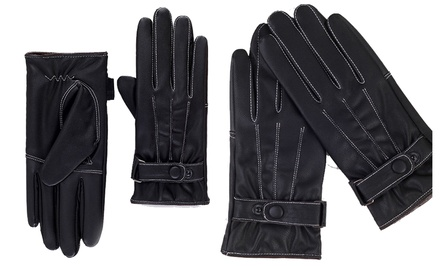iPM Men's Faux Leather and Fleece Touchscreen Gloves
