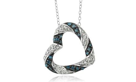 1/2 CTTW Blue & White Diamond Necklace