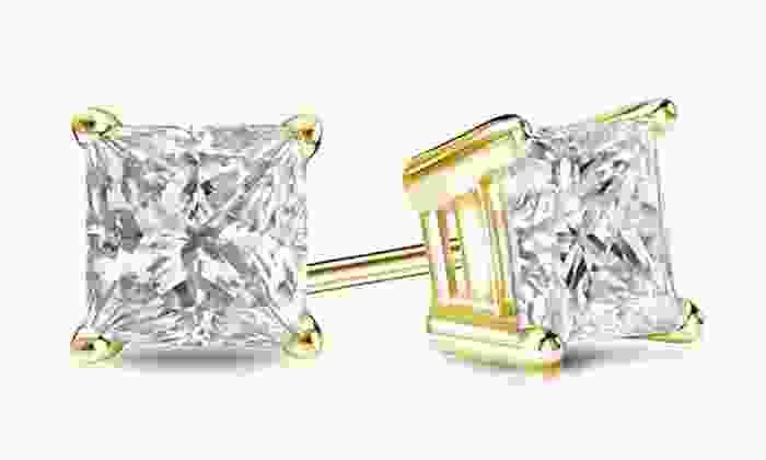 1.00 CTTW Certified Princess-Cut Diamond Earrings in 14K Gold: 1.00 CTTW Certified Princess-Cut Diamond Earrings in 14K Gold