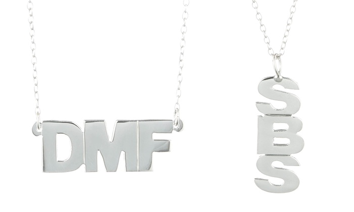 Luce Mia: Vertical or Horizontal Block Monogram Sterling Silver Necklaces from Luce Mia (Up to 64% Off)