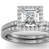 1.0 CTTW Pave Princess Shape Diamond Bridal Ring Set in 14K White Gold