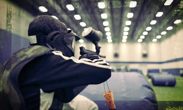 Westmont Yard - Westmont: $23 for Indoor Paintless-Paintball Package with Chest Protector, 1,400 Balls, and a Burger at Westmont Yard ($47 Value)