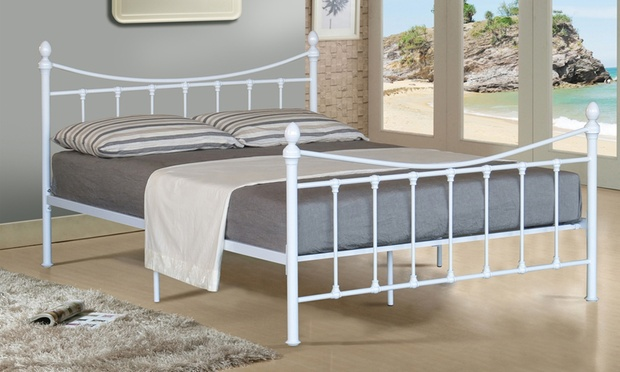 Victoriana metal bed frame groupon goods for Bed frame deals