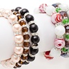 Set of 3 Marble or Faux Pearl Stretch Bracelets