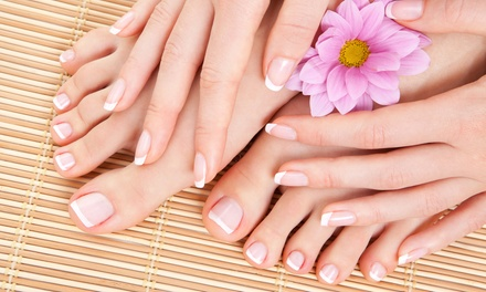 Deluxe Spa Manicure and Pedicure with Shellac for One Visit ($49) or Two Visits ($95) at Everlasting Beauty (Up to $260)