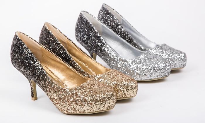 e2696288b2d Women s Glitter Kitten Heel Shoes