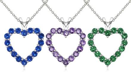 Heart Shaped Birthstone Pendants in Sterling Silver