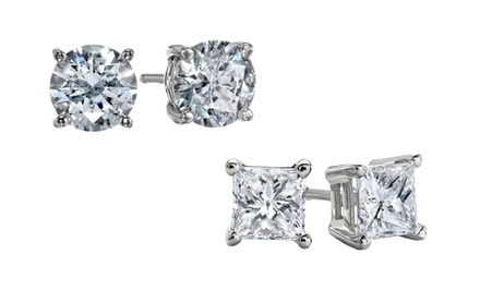 Solid 14K White Gold and Swarovski Elements Round- or Princess-Cut Studs from $14.99-$19.99