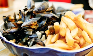 Falmouth bay seafood cafe: Moules Frites with Prosecco and Chips for Two or Four at Falmouth Bay Seafood Café (Up to 49% Off)