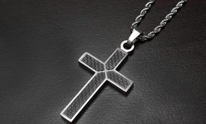 Men's Stainless Steel Black Carbon Fiber Cross Pendant