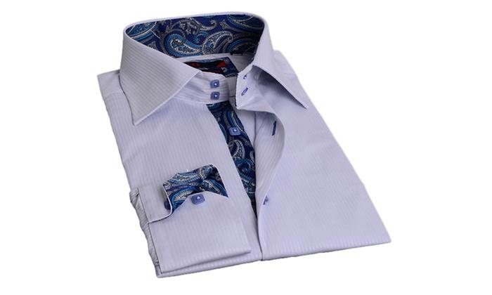 Brio men 39 s bright dress shirts groupon goods for Bright mens dress shirts