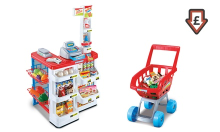 Children's Supermarket and Shopping Trolley Toy Set