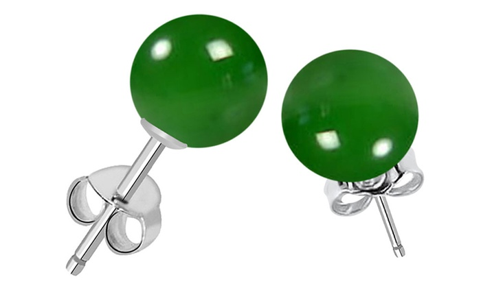 7.25 CTW Genuine Green Onyx Ball Stud Earrings
