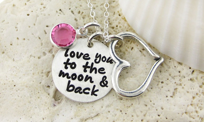 "JC Jewelry Design: $23 for a ""Love You to the Moon & Back"" Necklace with Birthstone from JC Jewelry Design ($50 Value)"