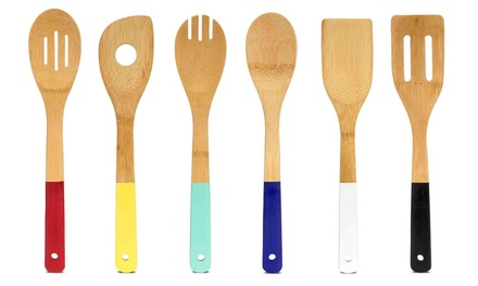 Bamboo kitchen tools set 6pcs groupon goods for Kitchen tool set of 6pcs sj