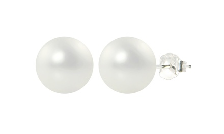 10mm White Shell Pearl Stud Earrings
