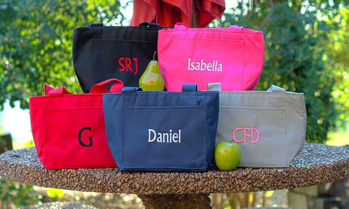 Embroidered Personalized Lunch Tote: Embroidered Personalized Lunch Tote