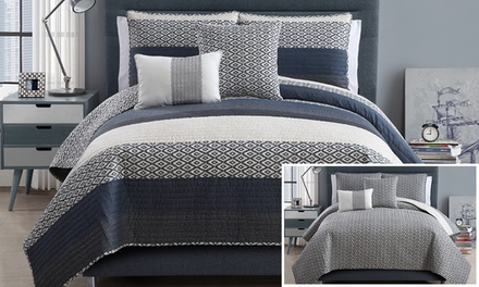 Nova Denim Reversible 5-Piece Quilt Set