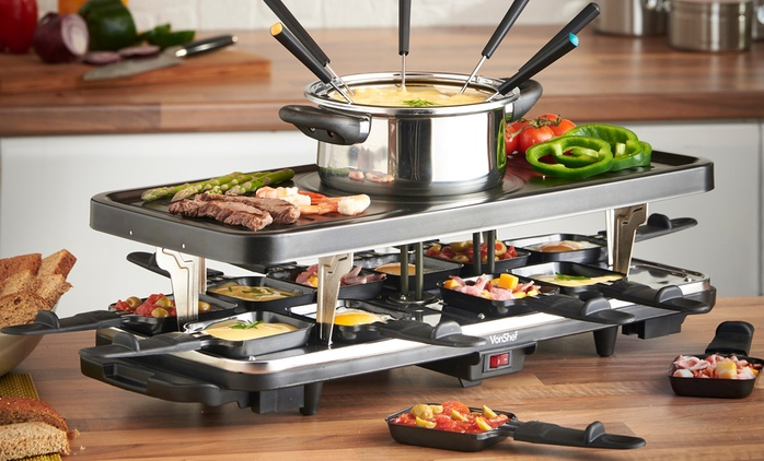 VonShef 12-Person Raclette Grill with 6-Fork Fondue Set and 12 Raclette Pans for £34.99 With Free Delivery (65% Off)