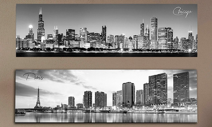 Black and white panoramic cities 14 x 48 posters or canvas