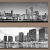 """Black and White Panoramic Cities 14"""" x 48"""" Posters or Canvas Prints"""