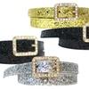 Buy One Get One: Ladies' Rhinestone Buckle Leather Glitter Belt